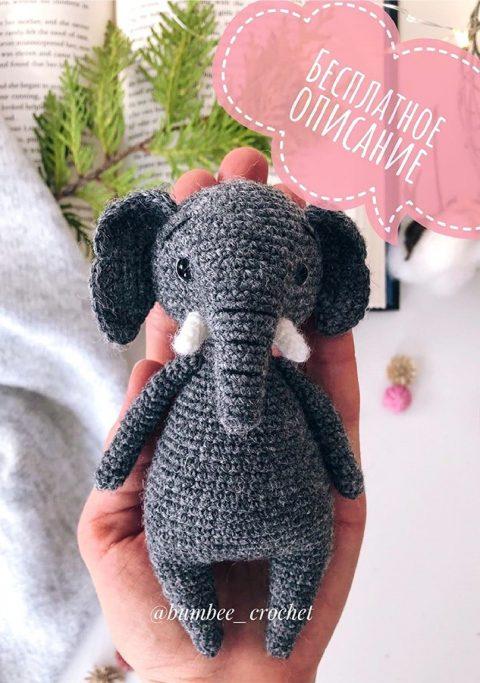 Слон амигуруми размером с ладошку