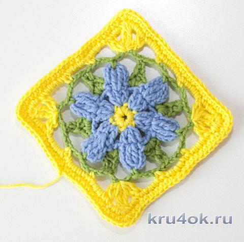 Красивый квадратный мотив крючком с цветком, схема и видео-урок