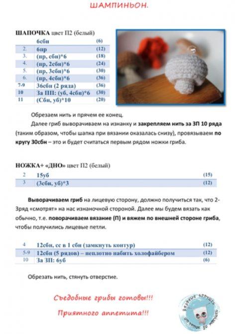 Схемы вязания грибов крючком