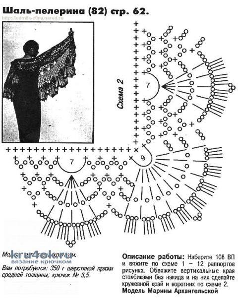 Ажурная шаль-пелерина, связанная крючком. Работа АкваМарин вязание и схемы вязания