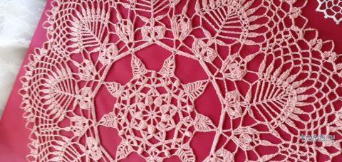 Большая круглая салфетка крючком КУПАЛЬЕ. Работа Маргариты вязание и схемы вязания