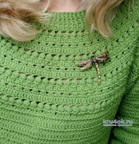 Джемпер с круглой кокеткой, связанный крючком. Работа Елены Шевчук вязание и схемы вязания