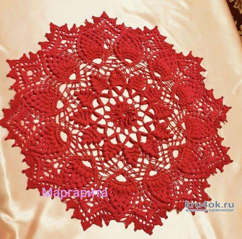 Салфетка крючком Красная корона. Работа Маргариты вязание и схемы вязания