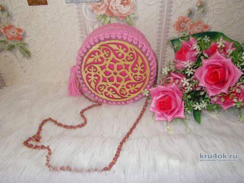 Сумочка крючком из трикотажной пряжи. Работа Татьяны вязание и схемы вязания
