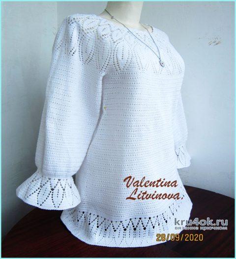 Туника - блузон крючком Aphrodite. Работа Валентины Литвиновой вязание и схемы вязания