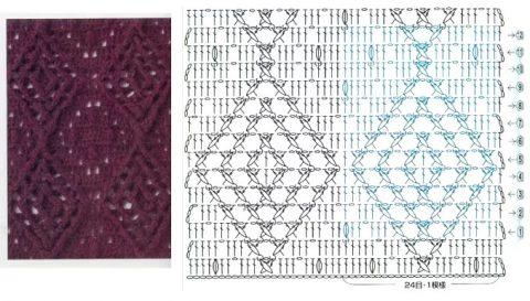 Схема вязания рельефных ромбов крючком