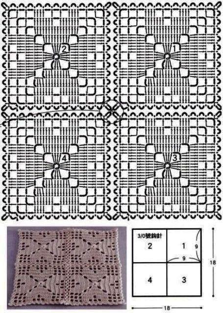 Подборка схем квадратных мотивов с сердцем 13