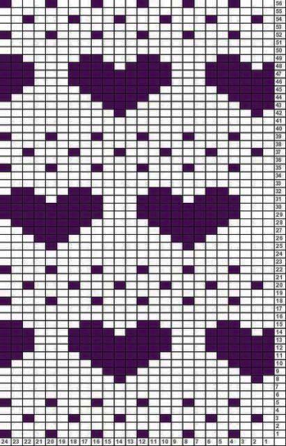 Подборка схем квадратных мотивов с сердцем 15