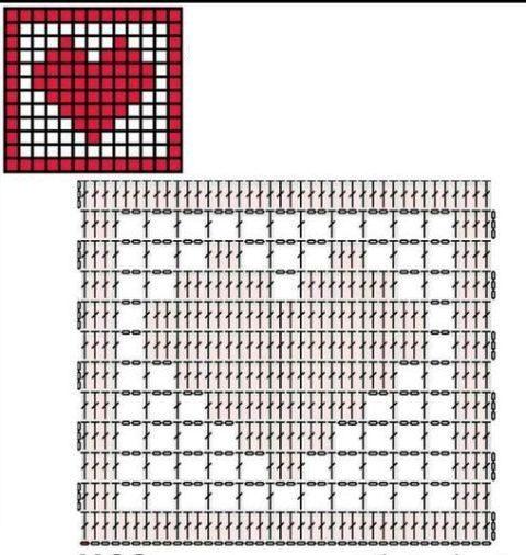 Подборка схем квадратных мотивов с сердцем 4