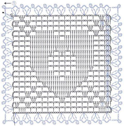 Подборка схем квадратных мотивов с сердцем 6