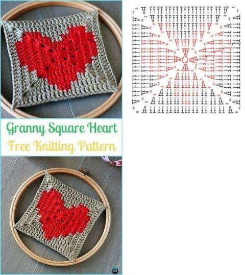 Подборка схем квадратных мотивов с сердцем 8