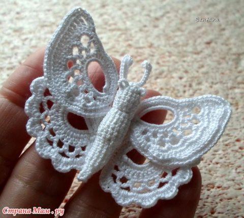 Бабочка крючком на бурдоне 11