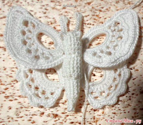 Бабочка крючком на бурдоне 5
