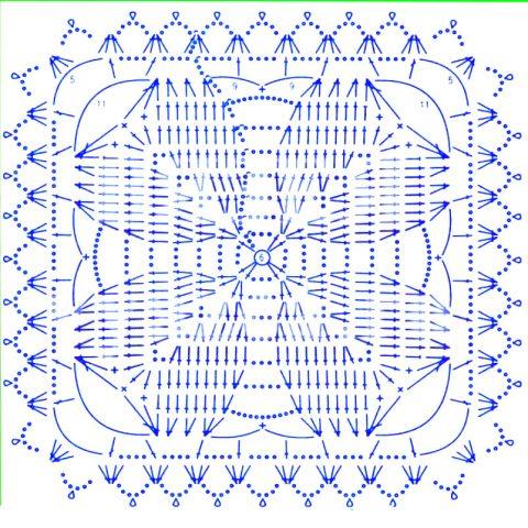 Подборка схем квадратных мотивов с сердцем - сердечные мотивы крючком