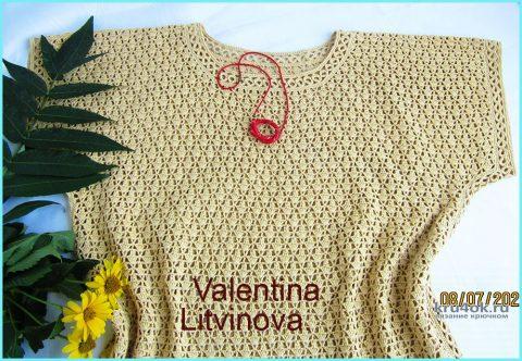 Туника Angelica, связанная крючком. Работа Валентины Литвиновой вязание и схемы вязания