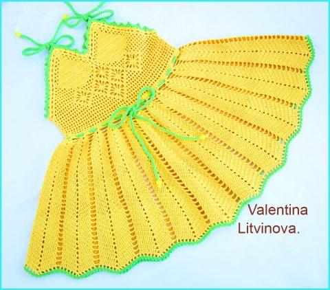 Нарядный сарафан для девочки Лето. Работа Валентины Литвиновой