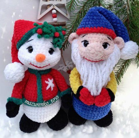 Снеговик и Гном амигуруми крючком