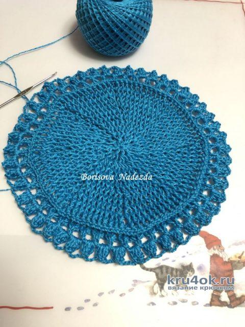 Декоративная салфетка крючком Голубая даль. Работа Надежды Борисовой вязание и схемы вязания