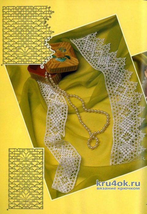 Филейное вязание + ткань (кайма к скатерти, занавеска и подзор). Работы Людмилы Петровой вязание и схемы вязания