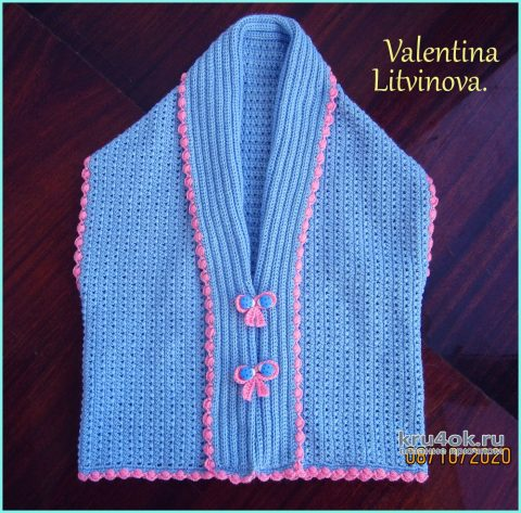 Кардиган - шраг крючком для девочки. Работа Валентины Литвиновой вязание и схемы вязания