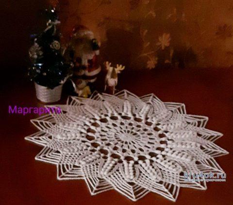 Круглая салфетка крючком Первая снежинка декабря. Работа Маргариты вязание и схемы вязания