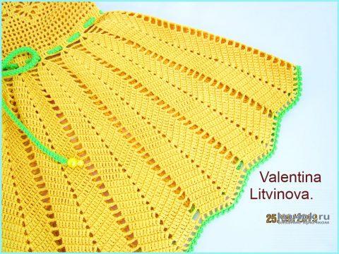 Нарядный сарафан для девочки Лето. Работа Валентины Литвиновой вязание и схемы вязания