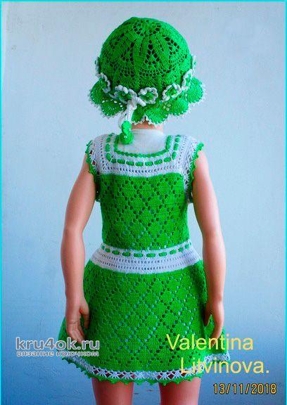 Платье для девочки Алиса, связано крючком. Работа Валентины Литвиновой вязание и схемы вязания