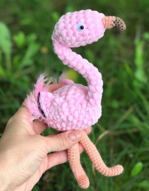 Птичка Розовый фламинго крючком