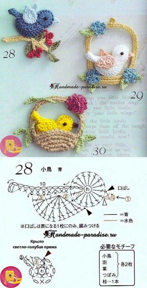Подборка схем и описаний красивых птичек, связанных крючком