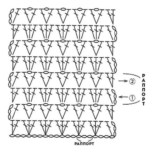 Схема основного узора для кофточки покрупнее:
