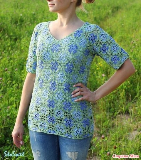 Летняя блуза крючком из мотивов