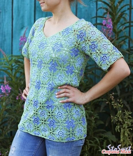 Летняя блуза крючком из мотивов 1