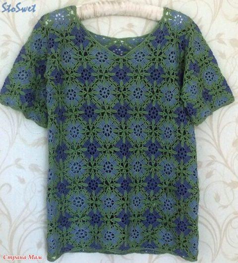 Летняя блуза крючком из мотивов 4