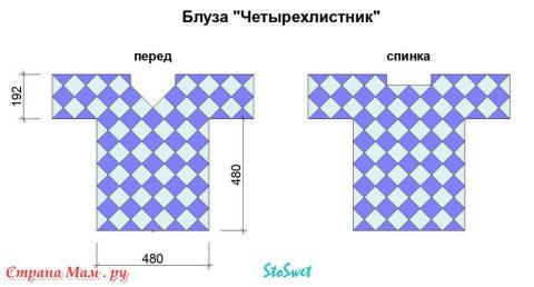 Летняя блуза крючком из мотивов 5