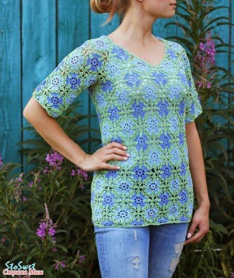 Летняя блуза крючком из мотивов 6