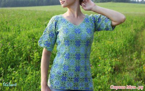 Летняя блуза крючком из мотивов 9