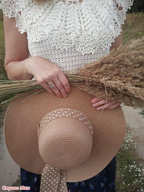 Ажурная летняя кофточка с пелериной. Работа Алены Салимсаковой вязание и схемы вязания