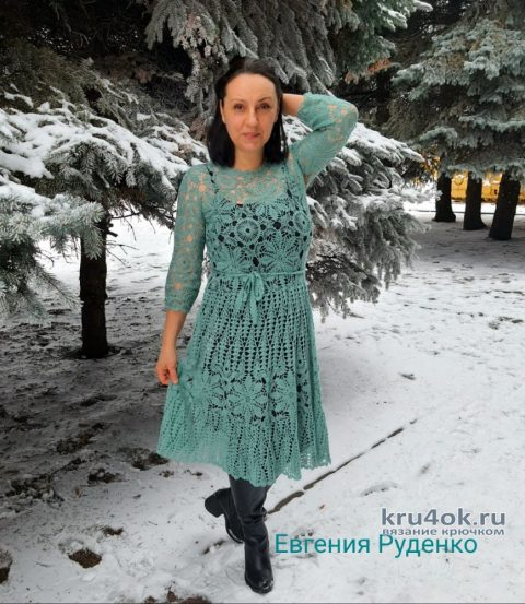Ажурное платье Изморозь. Работа Евгении Руденко вязание и схемы вязания