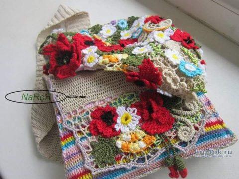 Комплект: берет и сумочка в ирландской технике. Работа Натальи Круминьш Романович вязание и схемы вязания