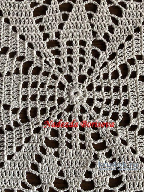 Квадратная салфетка крючком. Работа Надежды Борисовой вязание и схемы вязания