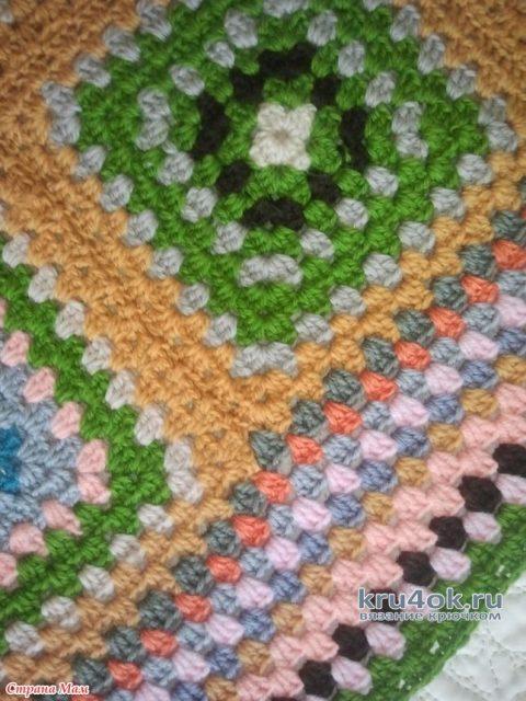 Плед крючком Бабушкин (из мотивов бабушкин квадрат). Работа Алены Салимсаковой вязание и схемы вязания