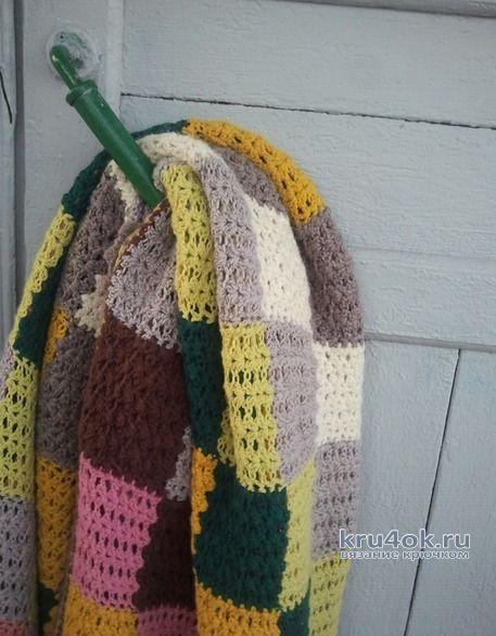 Плед Пестрые квадратики крючком без отрыва нити! Работа Алены Салимсаковой вязание и схемы вязания