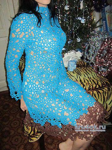 Вязанное крючком платье в технике ирландского кружева. Работа Натальи Круминьш Романович