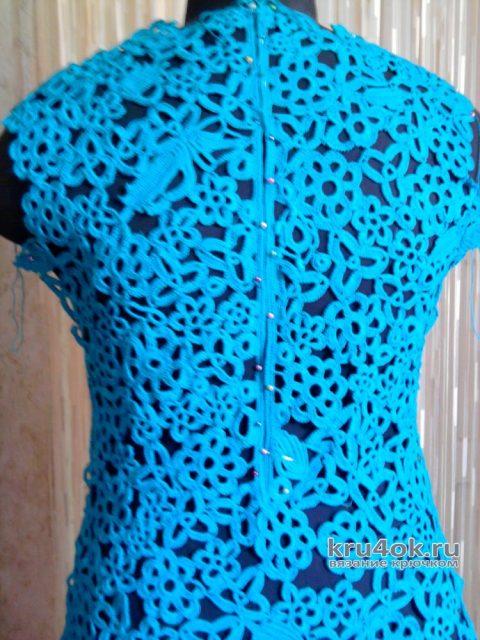 Вязанное крючком платье в технике ирландского кружева. Работа Натальи Круминьш Романович вязание и схемы вязания