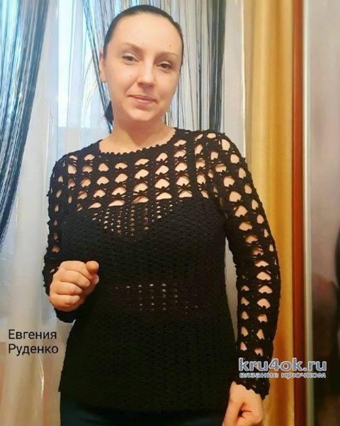 Вязаный ажурный пуловер Паутинка. Работа Евгении Руденко