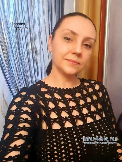 Вязаный ажурный пуловер Паутинка. Работа Евгении Руденко вязание и схемы вязания