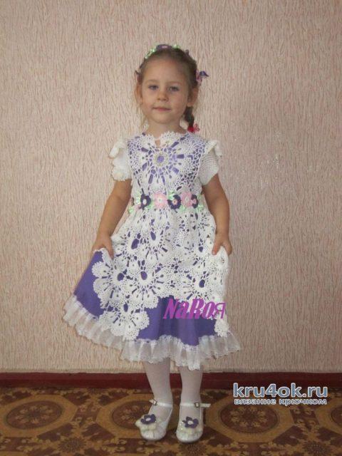 Детское платье крючком с широким ленточным кружевом. Работа Натальи Круминьш Романович вязание и схемы вязания