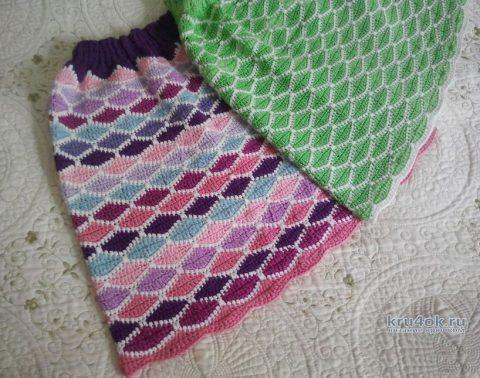 Две юбки крючком по одной схеме. Работы Алены Салимсаковой