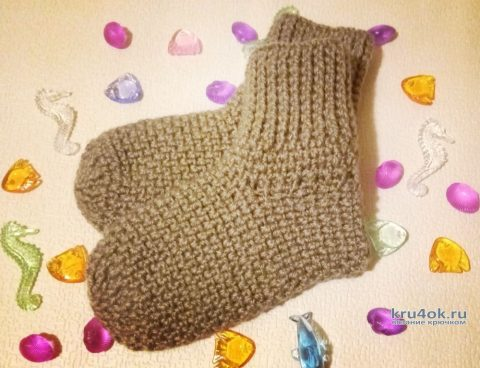 Носки крючком. Работа Ольги Каштановой вязание и схемы вязания