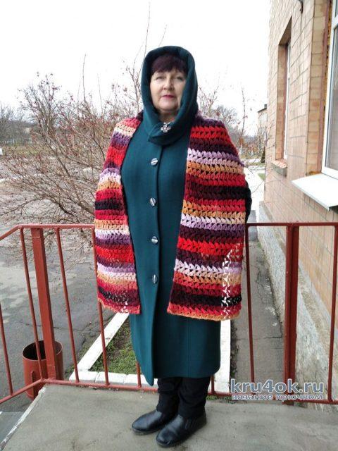 Полосатый шарф крючком. Работа Валентины вязание и схемы вязания